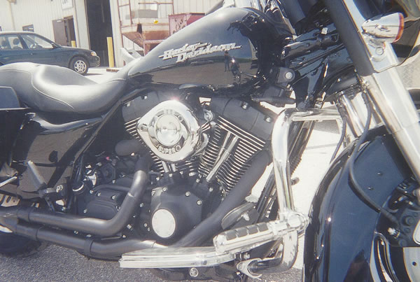 Black powder coating on a Harley Davidson Motorcycle