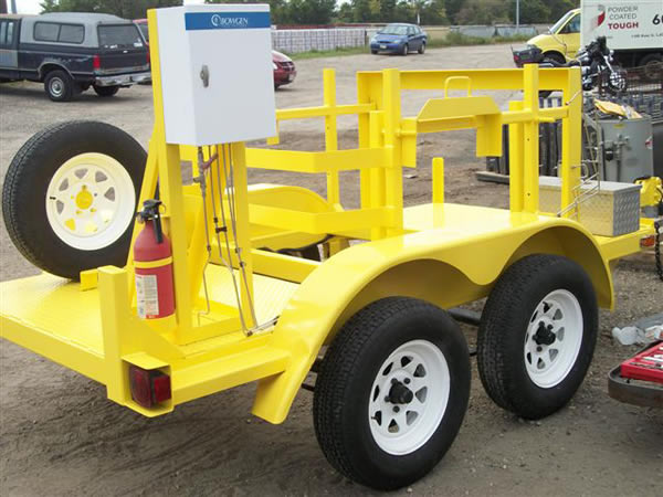 Yellow powder coating on a trailor